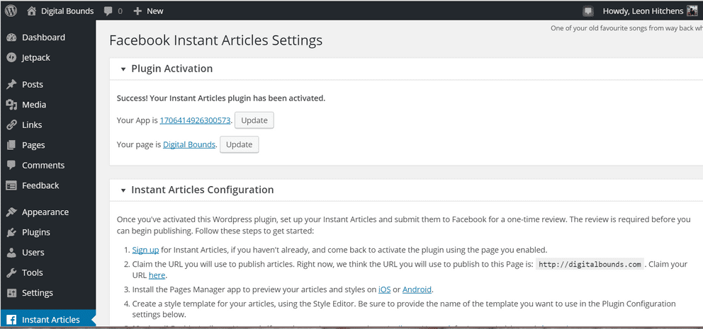 Screenshot of WordPress Plugin